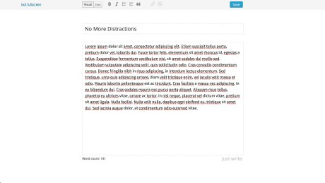 The minimal interface will make you so focused, you'll be able to write in fake Latin