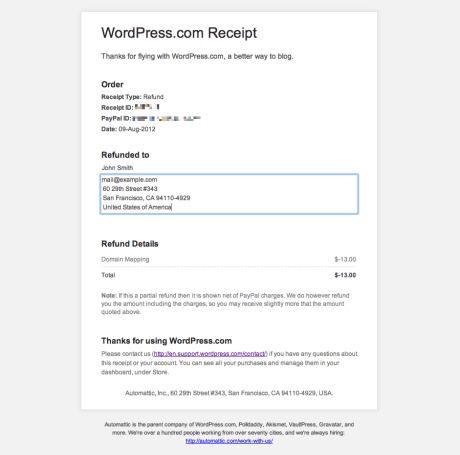 Sample WordPress.com receipt, showing how to add information under the Billed To section