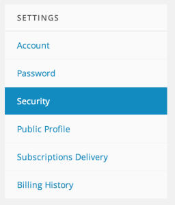 Security Option in Settings