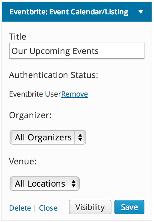 Eventbrite Calendar Widget - authorized