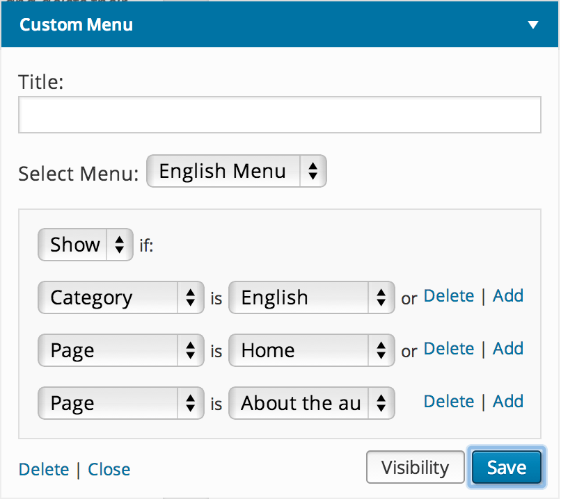 Multilingual blog - Custom menu settings