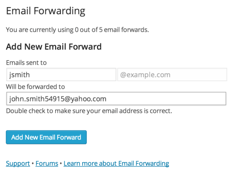 Adding an email forwarding address
