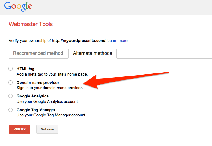 "Choose ""Domain Name Provider"""