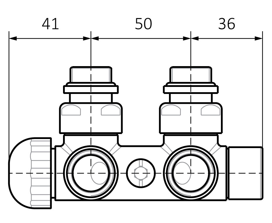 Integrated angled thermostatic valve