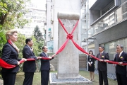 """<h5>Thanks Rick Yi</h5><p>© RICK YI, TAIWAN NEWS NOV-9-2009 TAIPEI, TAIWAN Director General of the German Institute Taipei Birgitt Ory, left, Chairman of the Taiwan Foundation for Democracy Wang Jin-pyng, third left, and guests unveil a piece of stone taken off from the Berlin Wall during a donation ceremony held yesterday to cemmemorate the 20th anniversary of the fall of the Berlin Wall. The 2.5 ton stone was donated by German's Oberhavel County Executive Karl-Heinz Schroter to the Memorial Foundation of 228 and then to the <a href=""""http://www.tfd.org.tw/opencms/english/index.html"""" target=""""_blank"""">Taiwan Foundation of Democracy</a>.                                                                                                                                                                                                                                                               </p>"""