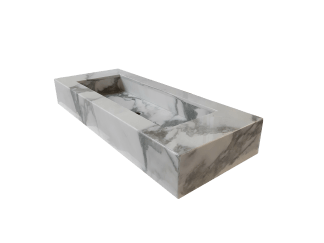 Marble washbasin model AM145 in white calacatta color