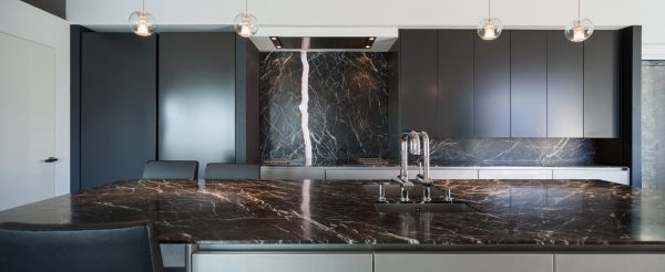 Black Marquina Marble Kitchen Countertop