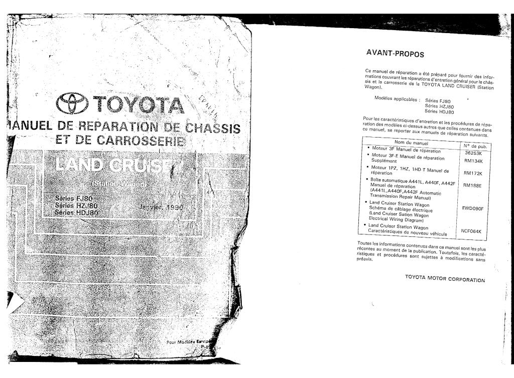 1990 land cruiser chassis body service manual serie fj80