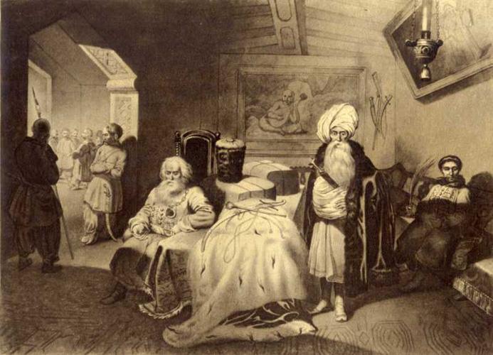 Taras Shevchenko - Gifts in Chigrin in 1649. Paper, etching 19,6 × 27,1 cm. 1844.