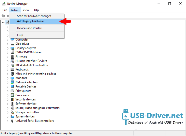 Download Pixus Play five 10.1 USB Driver - device manager add legacy hardware menu 1