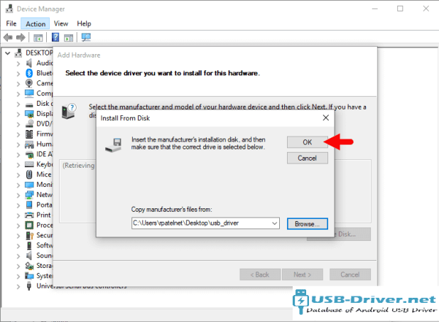 Download Opal G52 USB Driver - install from disk ok