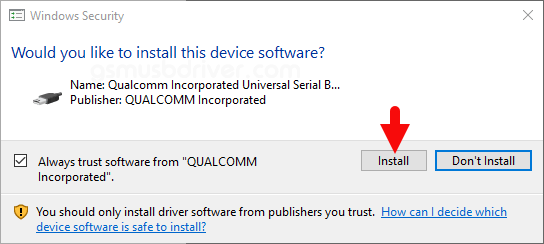 Download Treq Tune USB Driver - qualcomm driver install dialog