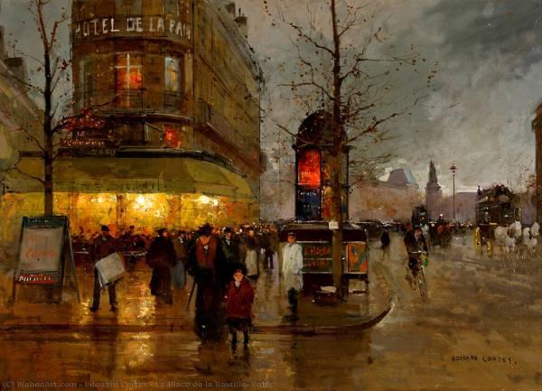La Place De Bastille Paris Oil Canvas Edouard