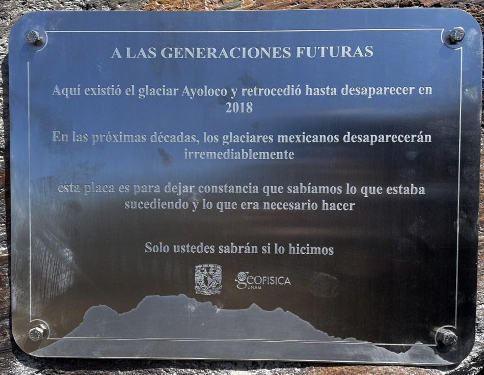 extinto Glaciar Ayoloco volcán Iztaccíhuatl México