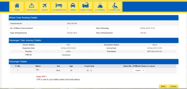 E-Wheelchair Booking cancellation page - OTP confirmation page