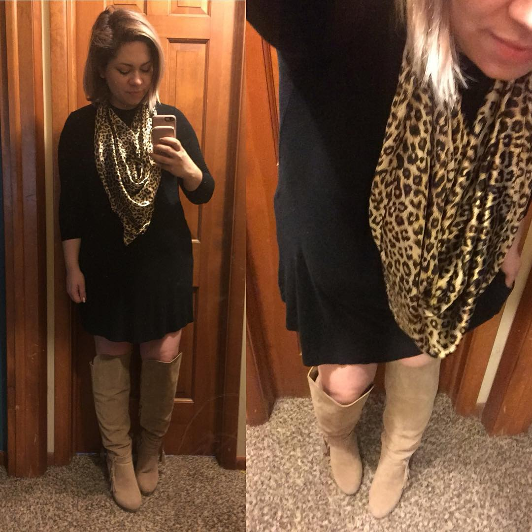 Fall Maternity Outfit: Basic Black Dress + OTK Boots + Leopard Print Scarf
