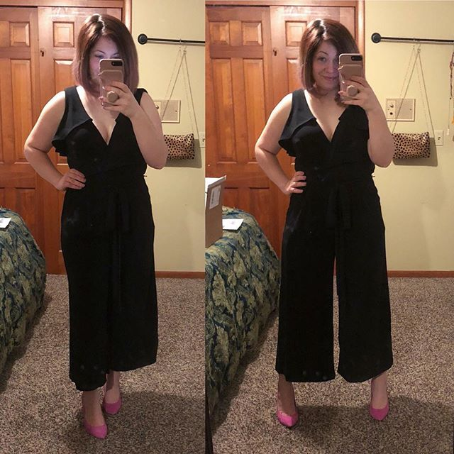 Yay or nay? I've never owned a jumpsuit…this feels a bit too long on me and needs a bralette but it's nursing friendly and comfortable! I wasn't sold on it but got great feedback in the Outfit of the Day group earlier. It came in my trial of @gwynniebee , btw ( get your FREE trial here with my referral link —> https://goo.gl/SJFReH ) — lots of super cute clothes in sizes XL and up, plus some smaller sizes, too! So what do you think — do I need this?