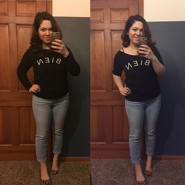 Transformation Tuesday! // This is from last year but is one of my favorite transformations! I found this cute Madewell sweatshirt at Goodwill but wanted to wear it for warmer temps, so I cut off the sleeves and neckline. 10x times better