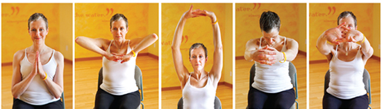 chair yoga - shoulder stretch