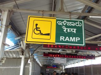 Ramp sign at Bangalore train station