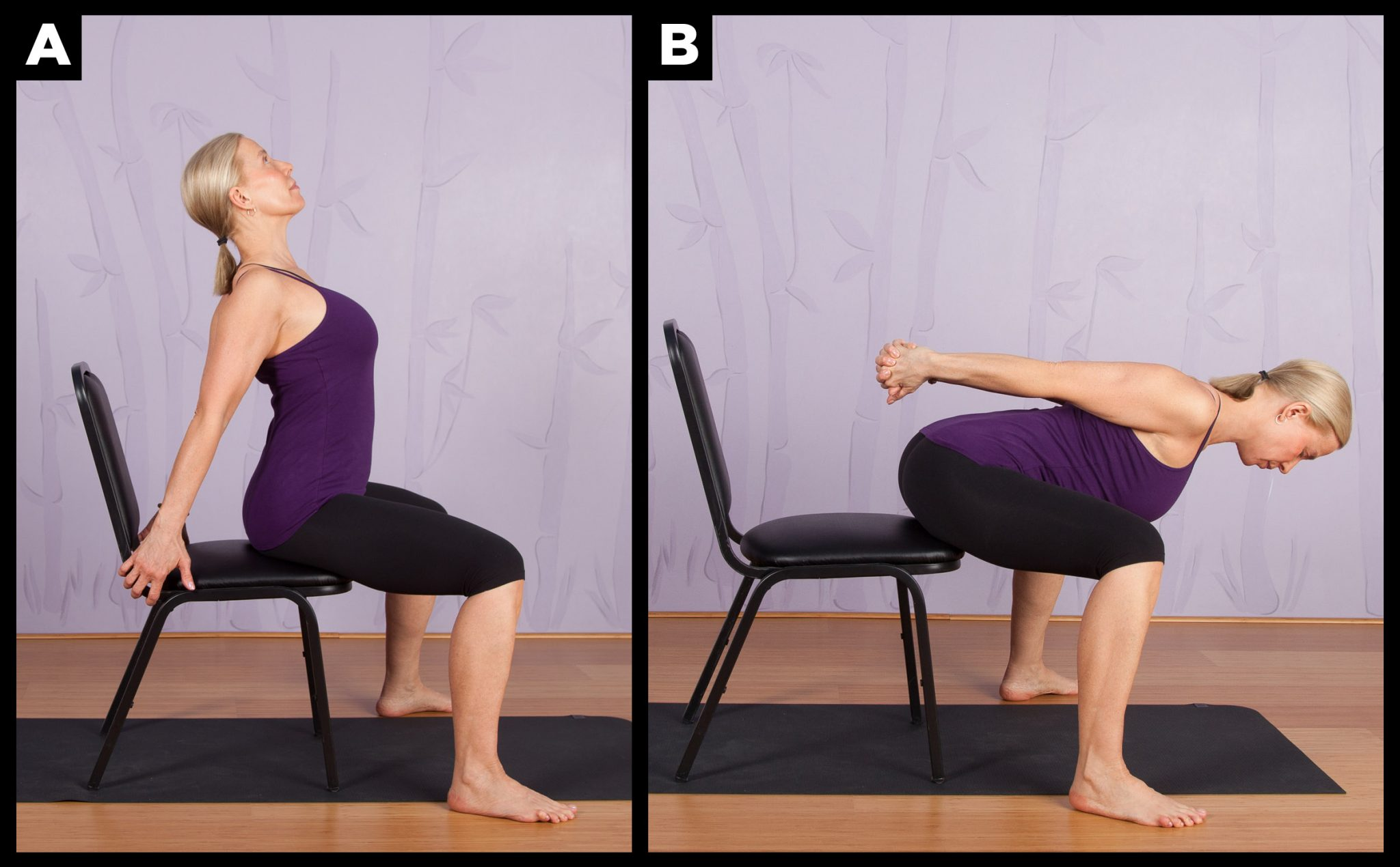 Chair Yoga Poses Chair Yoga Wide Legged Camel To Forward Fold