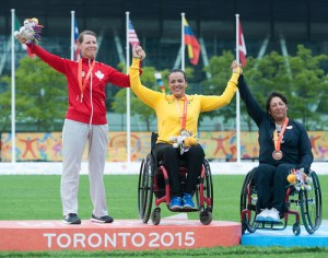 TORONTO, ON, AUGUST 10, 2015. Medal Archery events at the ParaPan Am Games _ Karen Van Nest wins silver. Photo: Dan Galbraith/Canadian Paralympic Committee