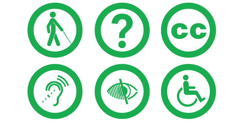 Six logos depicting various forms of accessible needs