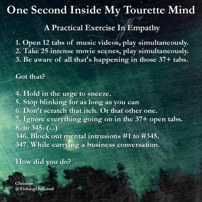 An image detailing ten steps to empathize what it feels like with tourettes