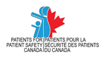 Logo for Patients for Patient Safety Canada. Text on the bottom half of logo and top half is of blue figures on the left and half a red maple leaf on the right