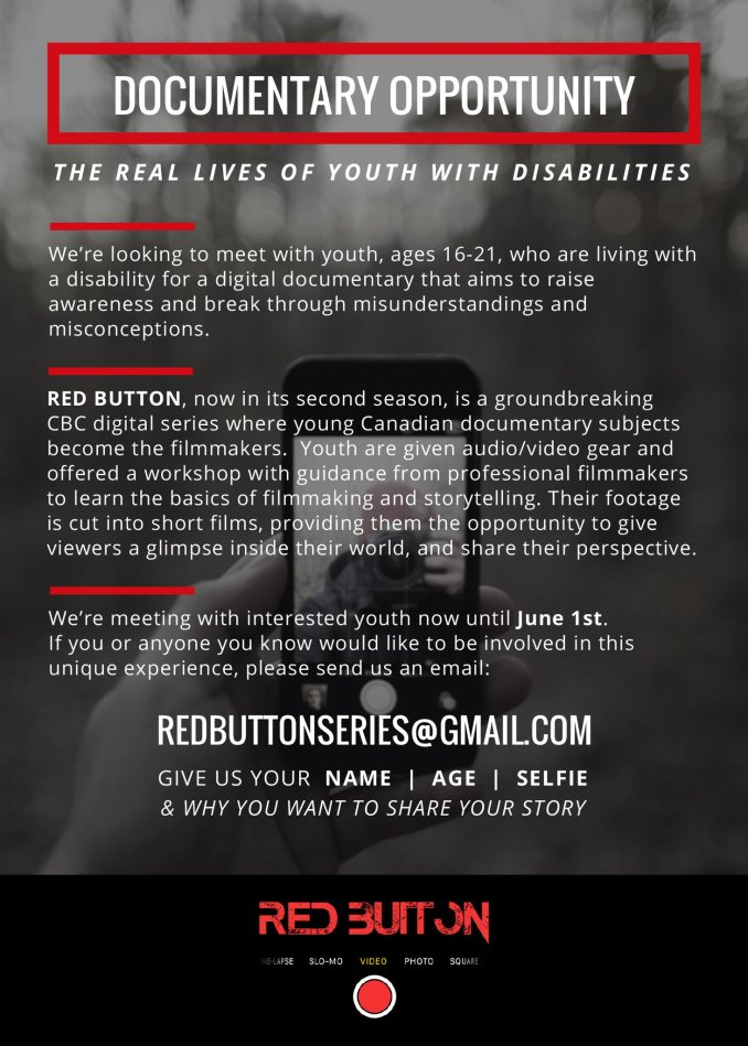 Redbutton Series flyer describing their search for a youth with disability to be featured in a documentary
