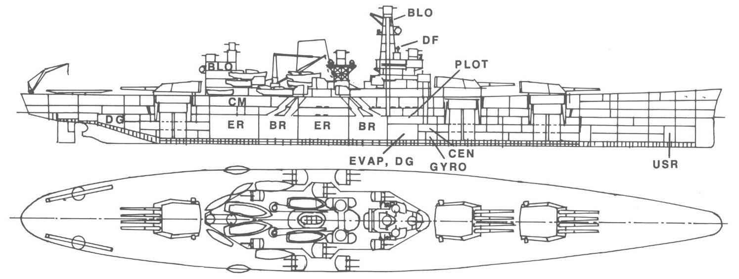 hight resolution of a line drawing of a ship that has three quadruple gun turrets two in front