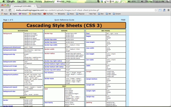 Collection of HTML5 /CSS3/Javascript Cheat Sheets for Web Designers 8