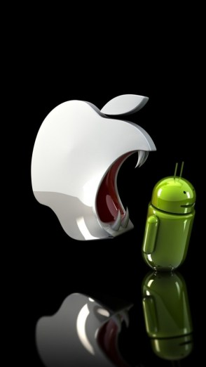 HD Abstract iPhone 5 Wallpaper- apple ready to eat android