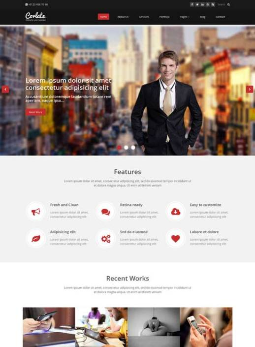 50 free responsive html5 and css3 templates corlate free responsive business html template accmission Choice Image