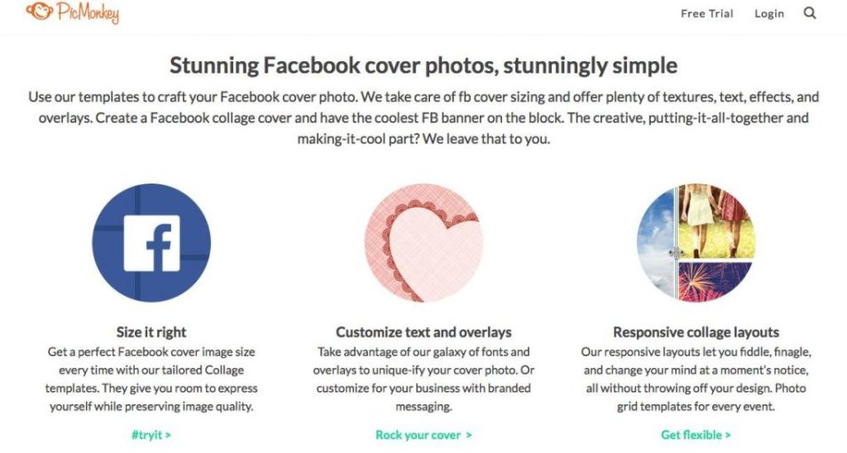 4 great online tools help you personalize facebook cover picmonkey takes care of facebook cover sizing and offers plenty of textures text effects and overlays solutioingenieria Image collections