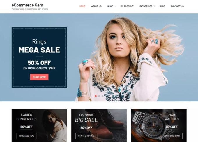 Ecommerce gem - One of the best Free E-commerce WordPress themes