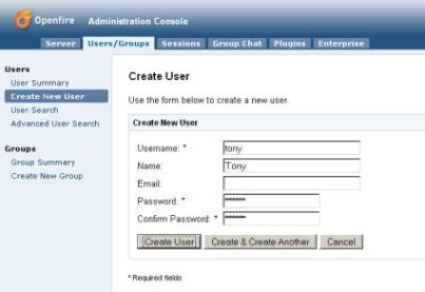 Openfire: Administration Console 'Create New User' Screen