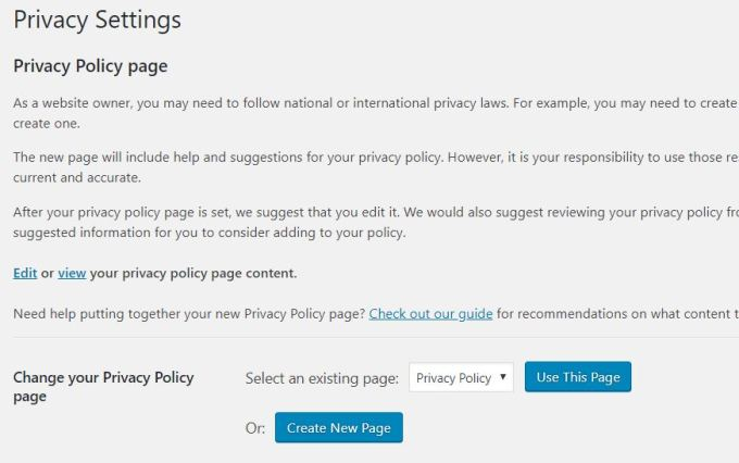 WordPress - Privacy Policy
