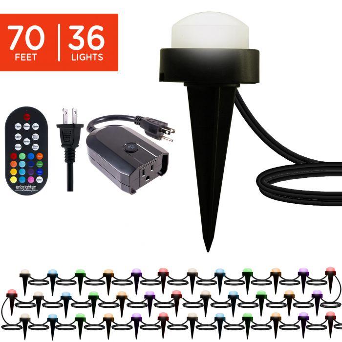 enbrighten wifi bundle mini seasons color changing led landscape lights 36 lights 92 ft and wifi smart plug