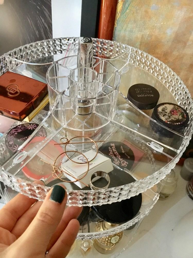 rangement maquillage transparent tour rotative