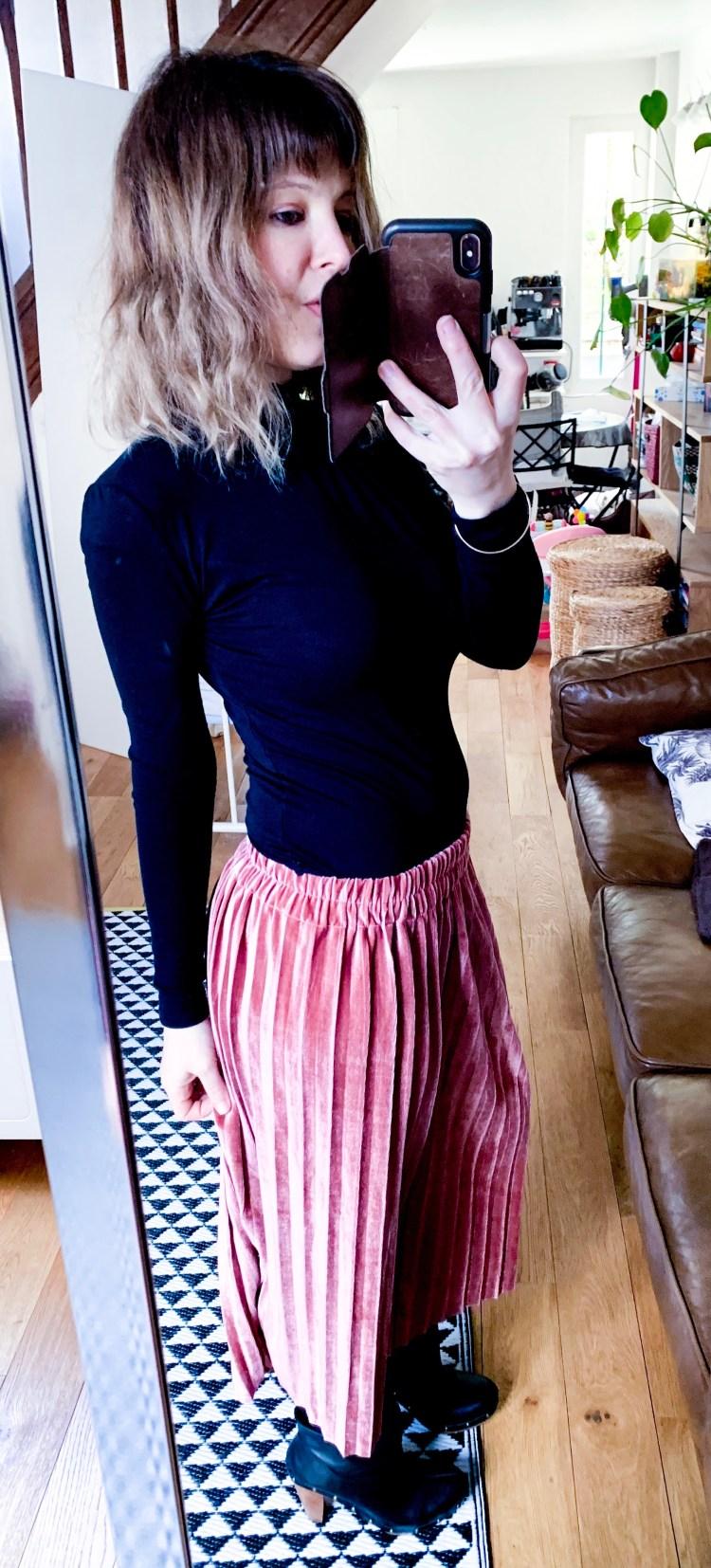 jupe velours rose dresslily