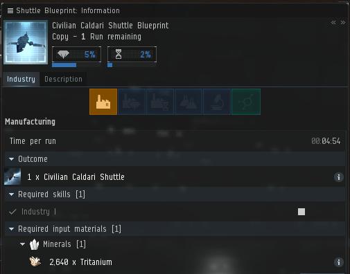 Civilian Caldari Shuttle Blueprint