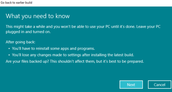 Windows 11 to Windows 10 rollback