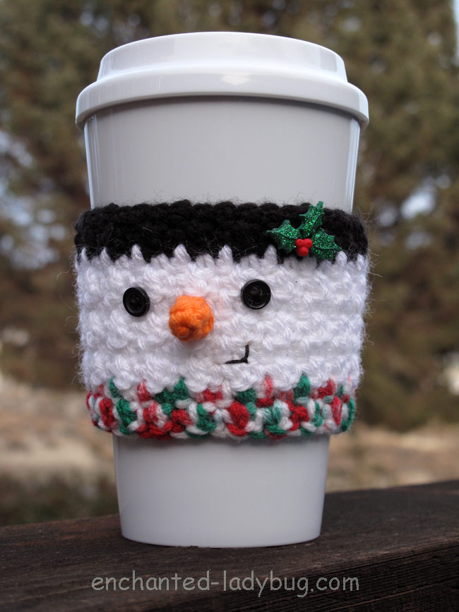 Free Crochet Snowman Coffee Cup Cozy Pattern