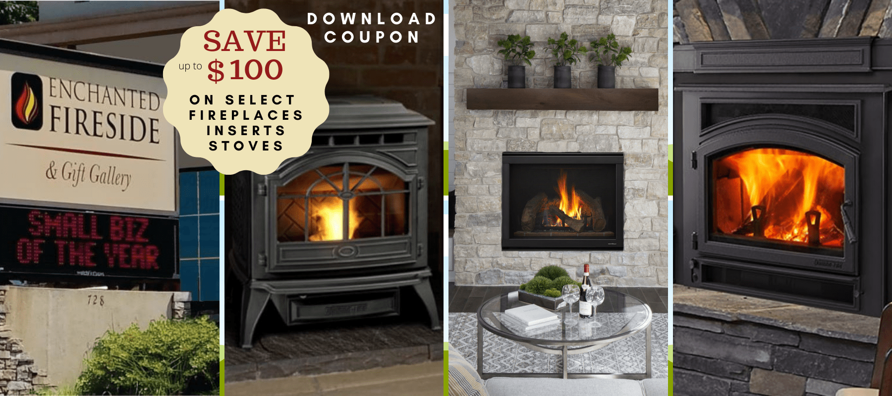save up to 100 on fireplaces inserts and stoves at enchanted fireside