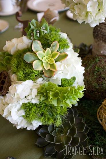 Succulents, white hydrangea, Bells of Ireland and dianthus