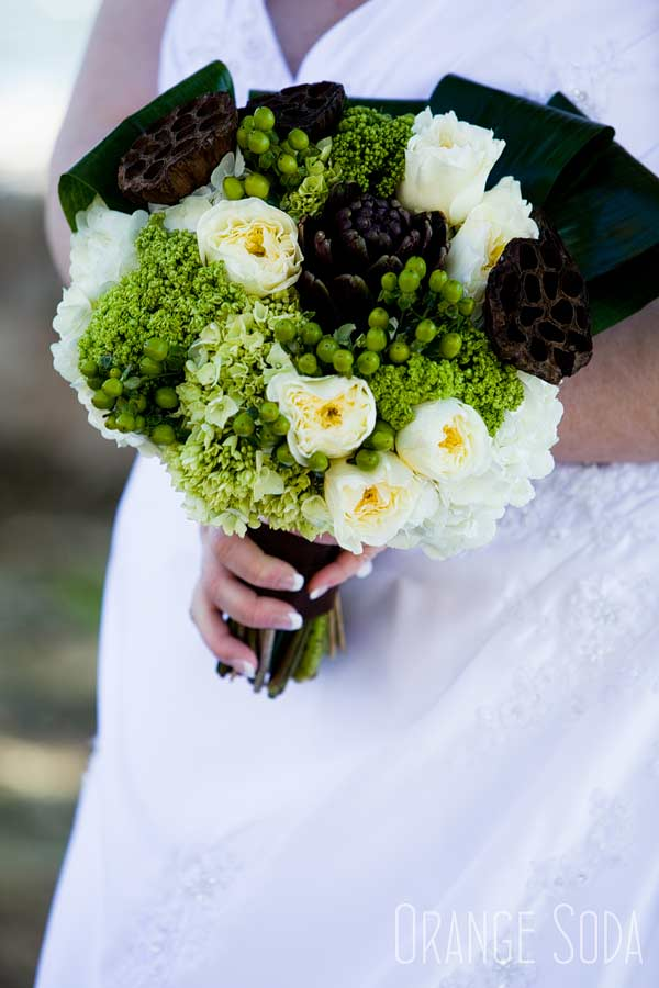 The Bridal Bouquet made of hydrangea, artichoke, lotus, hypericum and ranunculus.