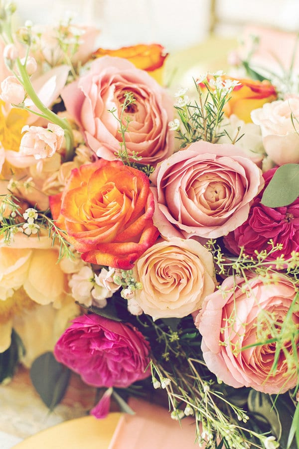 Enchanted Florist  Gold Coral and Pink  Vibrant Flowers