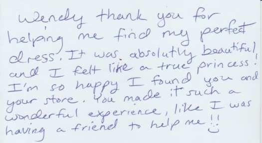 Testimony card writing