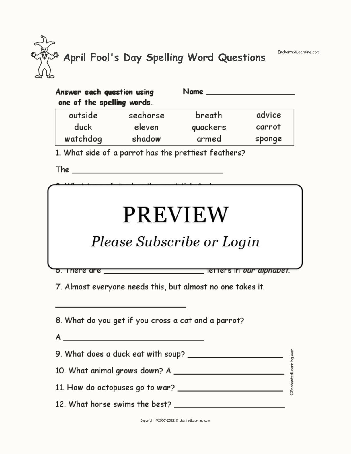April Fool S Day Spelling Word Questions